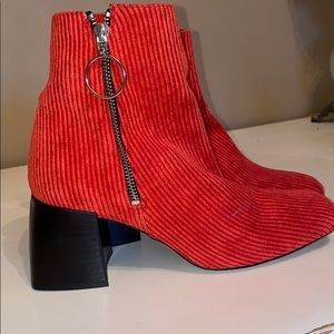 Free People Square Toe Red booties